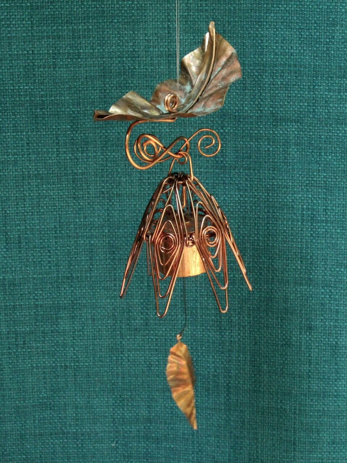 Hanging Bellflower Chime with Dappled Leaf Dusty Rose