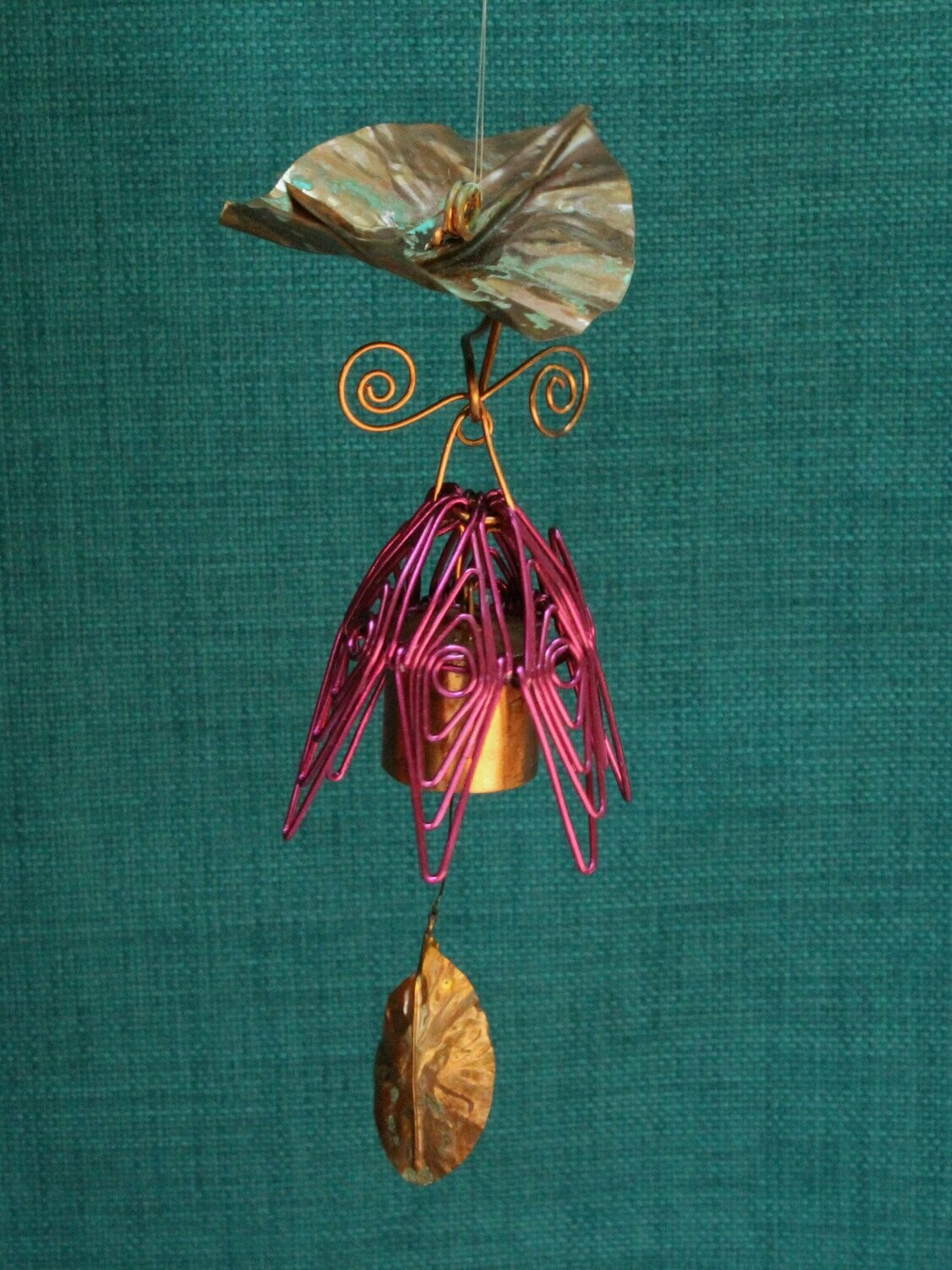 Hanging Bellflower Chime with Dappled Leaf Fuschia