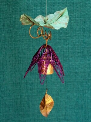 Hanging Bellflower Chime with Patina Leaf Amethyst
