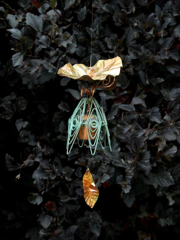 Rustic Blue Hanging Bellflower Chime with Dappled Leaf