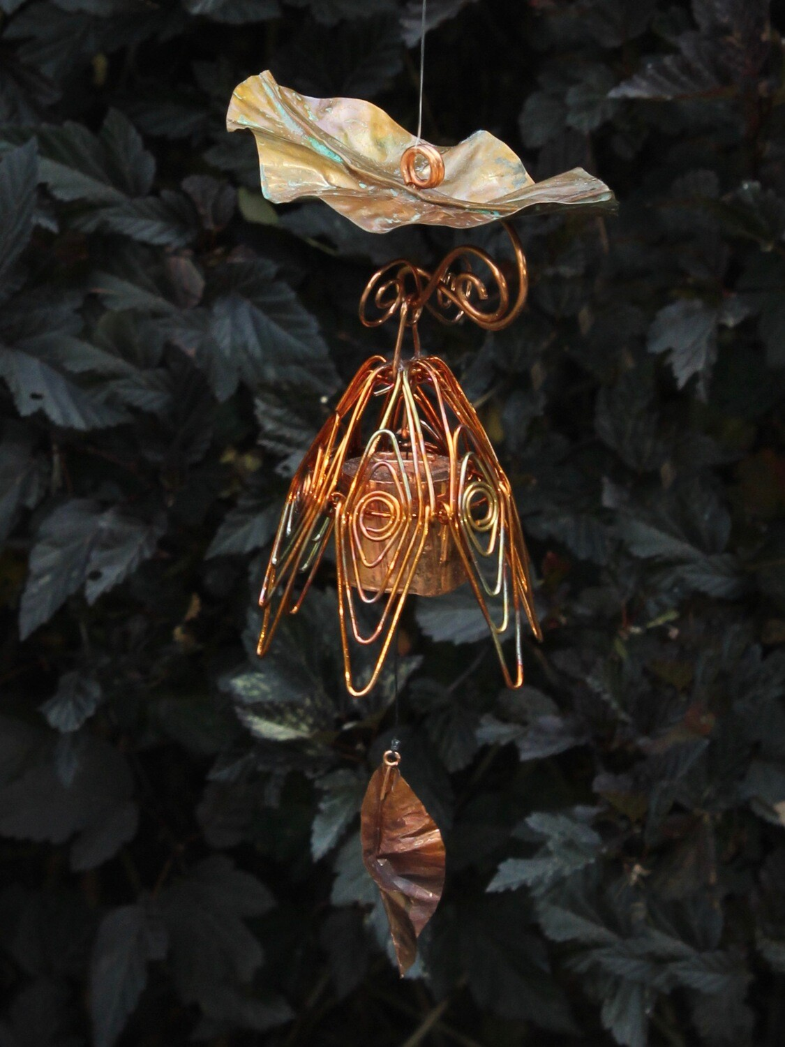 Flamed Copper Hanging Bellflower Chime with Dappled Leaf