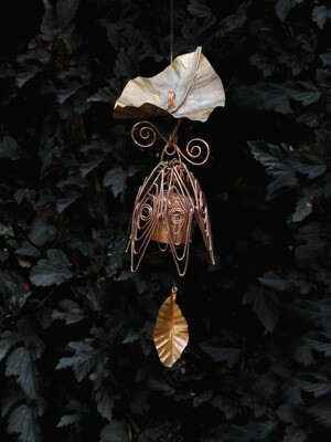 Silver Pink Hanging Bellflower Chime with Dappled Leaf
