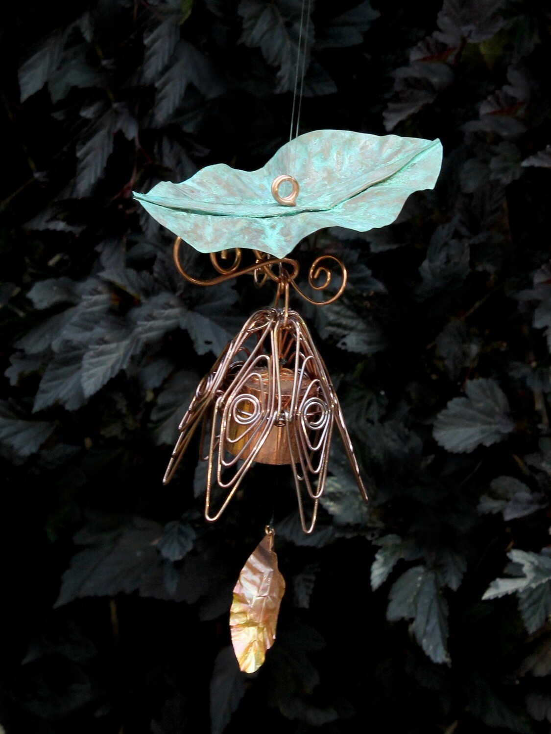 Silver Pink Hanging Bellflower Chime with Patina Leaf