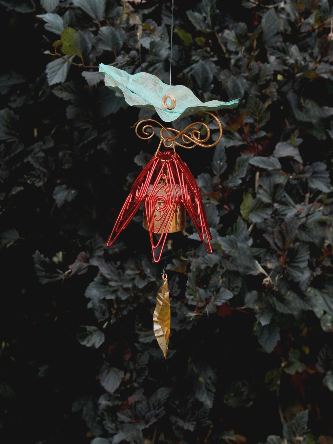 Red Hanging Bellflower Chime with Patina Leaf