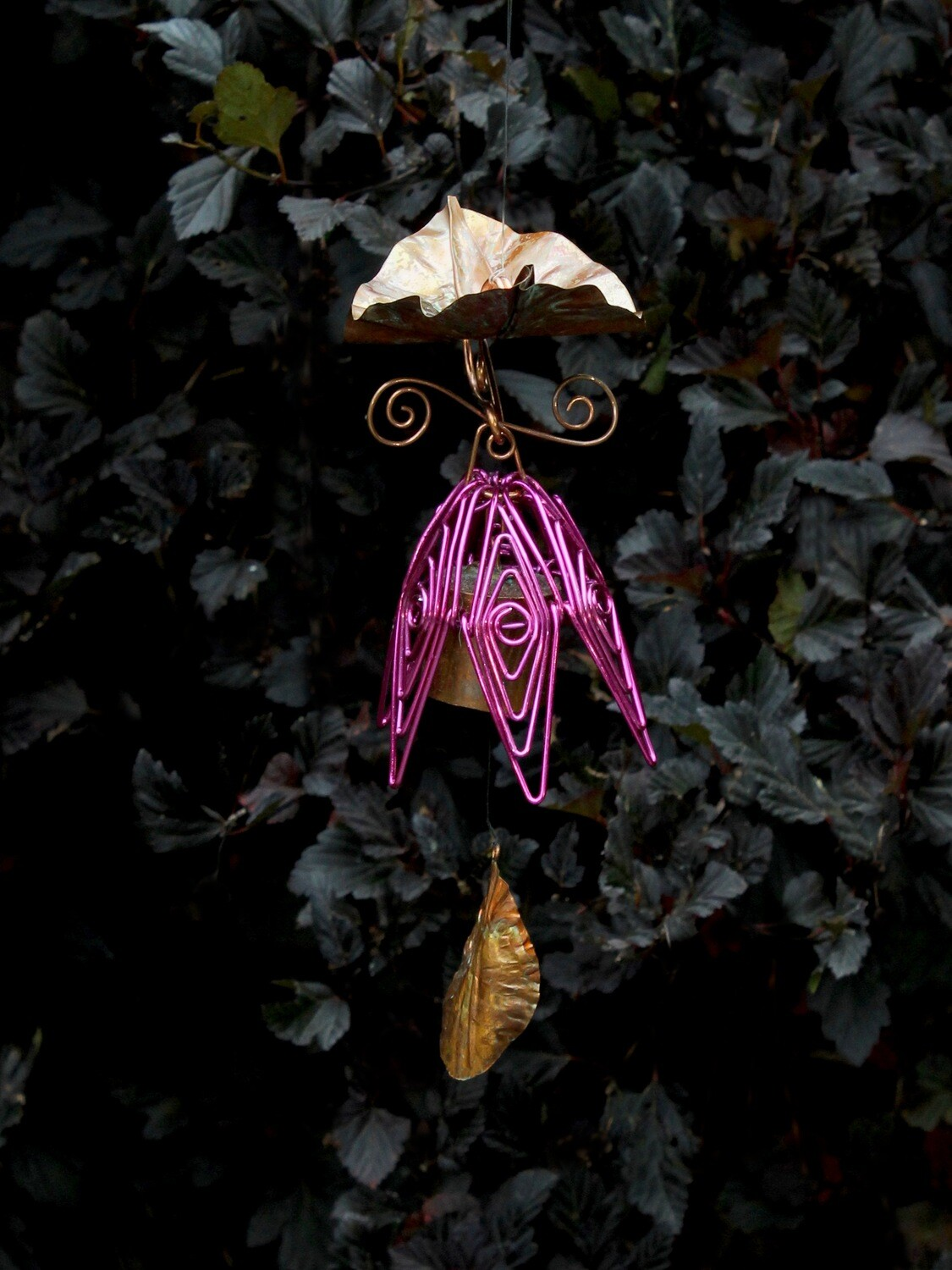 Fuschia Hanging Bellflower Chime with Dappled Leaf