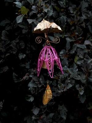 Fuschia Hanging Bellflower Chime with Dappled Leaf