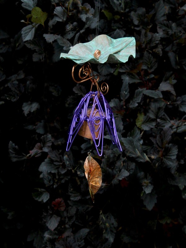 Purple Hanging Bellflower Chime with Patina Leaf