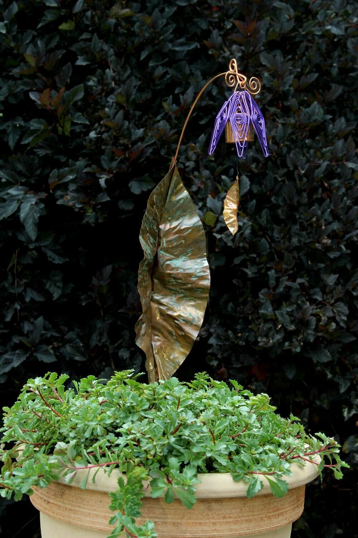 Bellflower Chime Garden Stake Purple