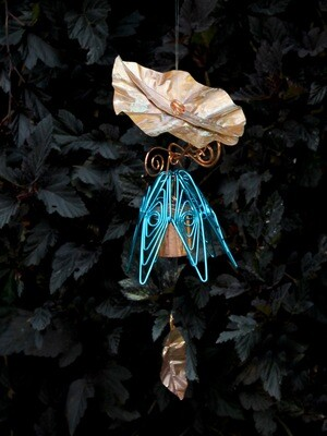 Peacock Hanging Bellflower Chime with Dappled Leaf