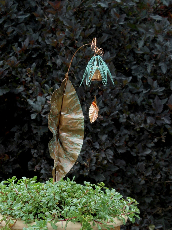 Bellflower Chime Garden Stake Rustic Blue