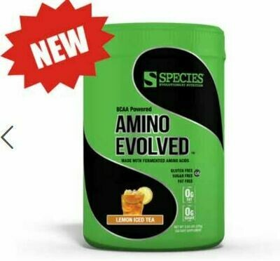AMINO EVOLVED: Fermented Branched Chain Amino Acid. LEMON ICED TEA Made in the USA.