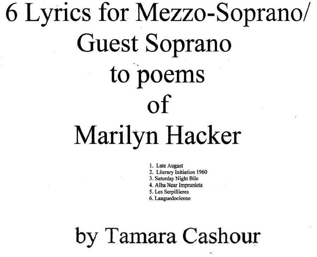 SIX LYRICS OF MARILYN HACKER: Chamber Ensemble