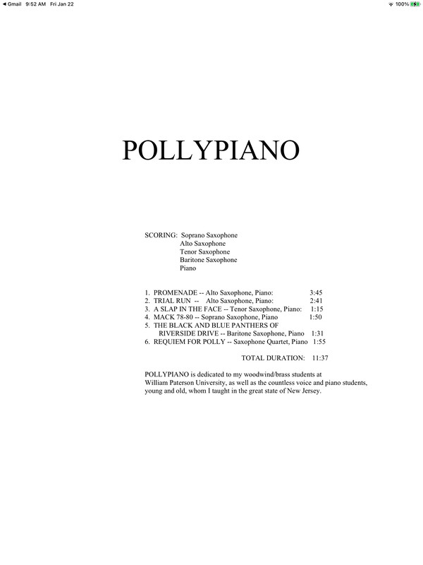 POLLYPIANO for SAXOPHONE QUARTET and PIANO