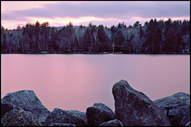 Frozen Lake Sunset - Rome, ME