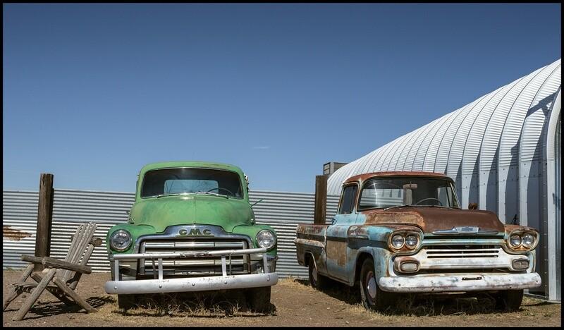 Old Pickup Trucks, Convenience West BBQ - Marfa, TX