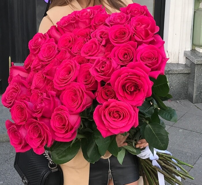 51 роза (Эквадор) Пинк флоид 60 см