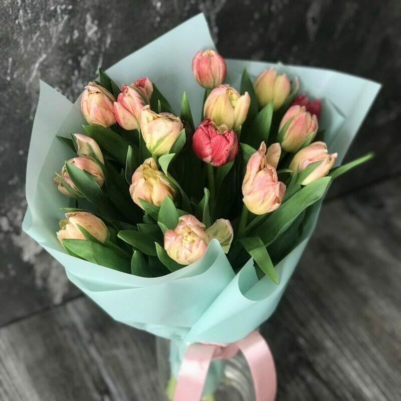 15 пионовидных нежных  тюльпанов в голубой упаковочной бумаге