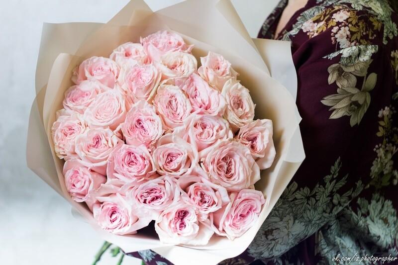 Букет пионовидных роз O'Xara Pink 25 шт