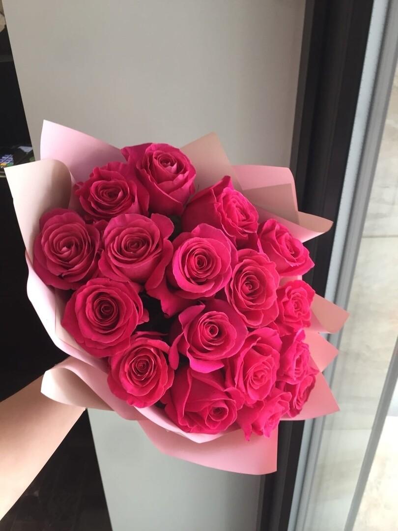 """Элитная роза Эквадор """"Pink Floid"""" 17 шт 60 см"""