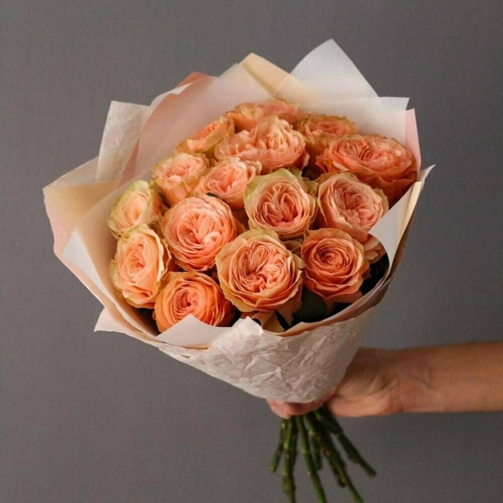 15 персиковых пионовидных роз