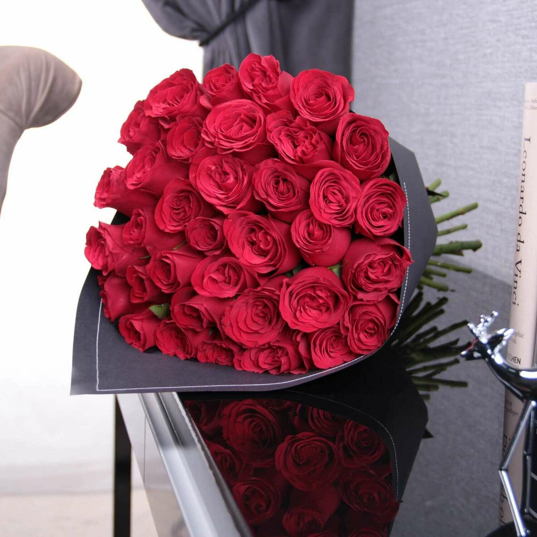 21 малиновая роза Эквадор 60 см