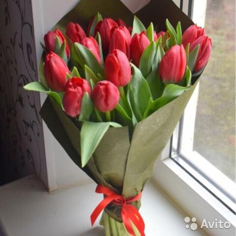 17 красных тюльпанов