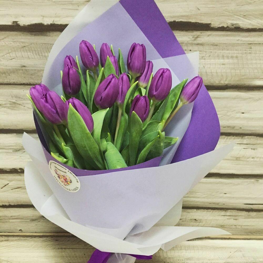 15 сиреневых тюльпанов