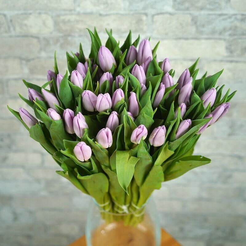 45 сиреневых тюльпанов