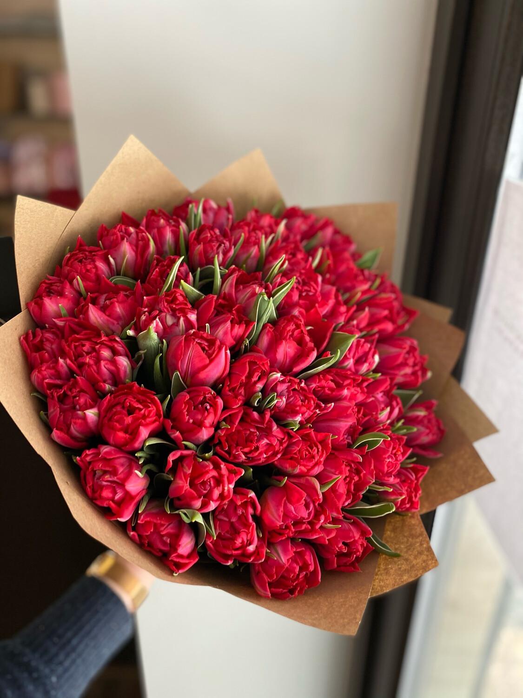 Букет красных пионовидных Тюльпанов 49шт