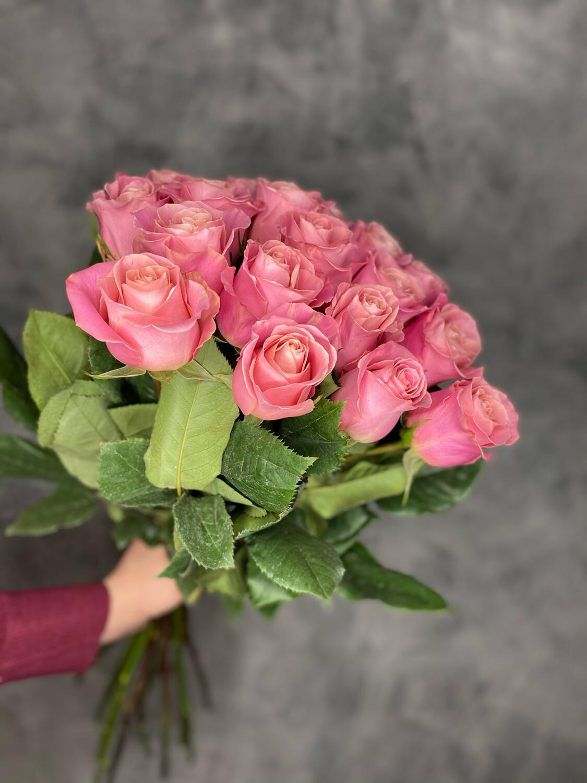 Букет розовых роз Эквадор 21шт