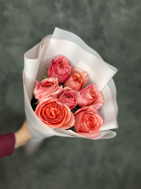 Букет пионовидных роз в наличии 7шт в стильной упаковке