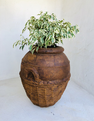 Woven Rope Planter Honeyclay Finish - H650mm x W580mm - 33kg