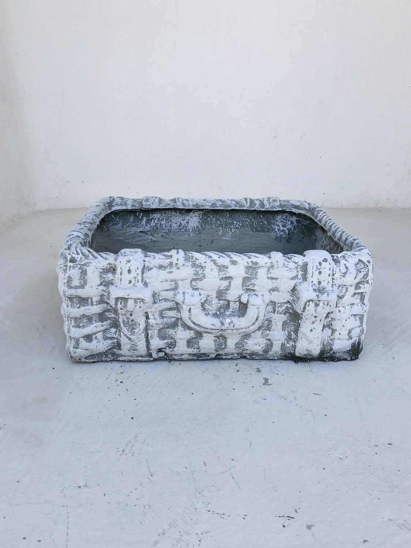 Picnic Basket Medium Whitewash Finish - L490mm x W390mm x H160mm - 15kg