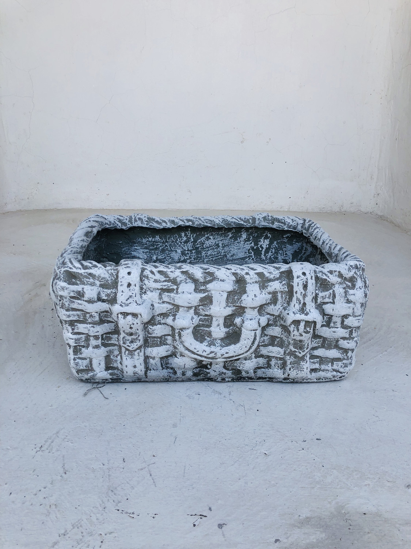 Picnic Basket Small Whitewash Finish - L430mm x W300mm x H160mm - 12kg