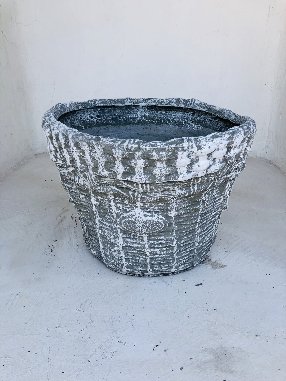 Large Woven Basket Whitewash Finish - L700mm x W530mm x H410mm - 23kg