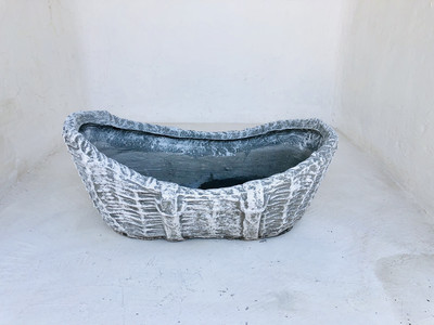 Woven Crib Planter Whitewash Finish - L750mm x W480mm x H180mm - 19kg