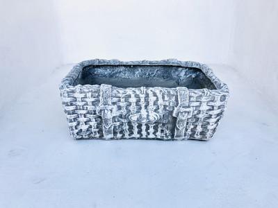 Picnic Basket Large Whitewash Finish - L620mm x W390mm x H220mm - 23kg