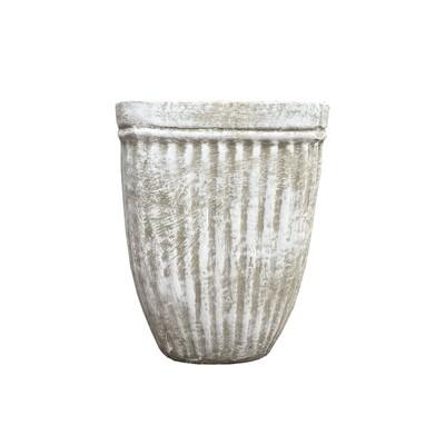 Square Stripe Pot Small Whitewash Finish - H280mm x W210mm - 5.6kg