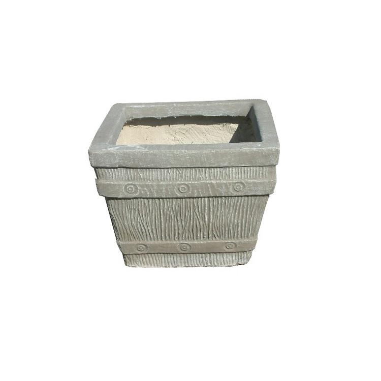 Square Sleeper Pot Large Whitewash Finish - L600mm x H500mm - 41kg