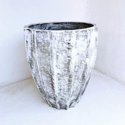 Jackie Pot Large Whitewash Finish - H680mm x W550mm - 29kg