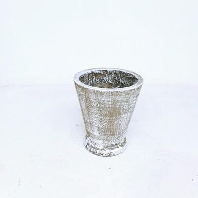 Edden Pot Small Whitewash Finish - H250mm x W220mm - 4kg