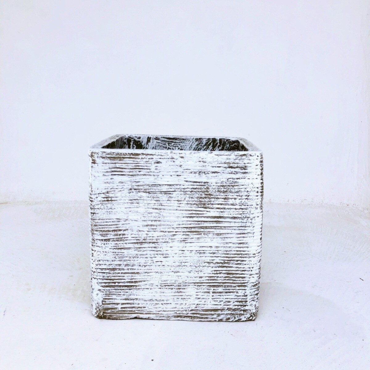 Braided Square Planter Medium Whitewash Finish - H300mm x W300mm - 10kg
