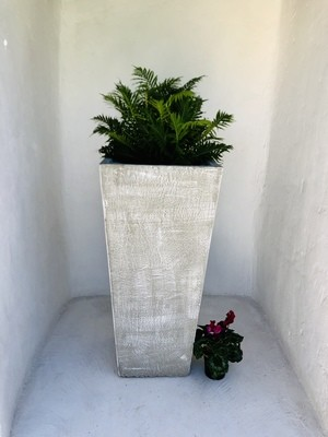 Square Slim Pot with Liner XL Whitewash Finish - L1007mm x W500mm - 83kg