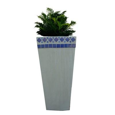 Square Slim Pot Blue Tile Mosaic