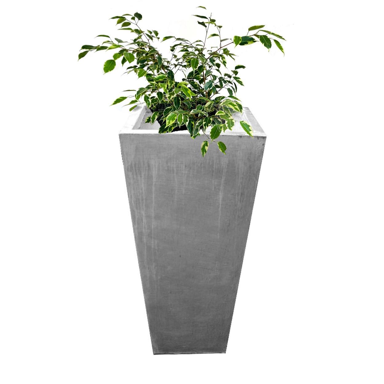 Square Slim Pot Large Whitewash Finish - H901mm - 55kg