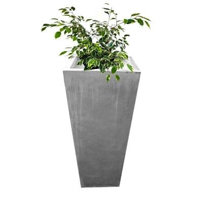 Square Slim Pot Extra Small Whitewash Finish - H360mm - 10kg