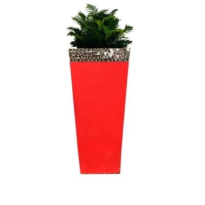 Square Slim Pot Red Mirror Mosaic