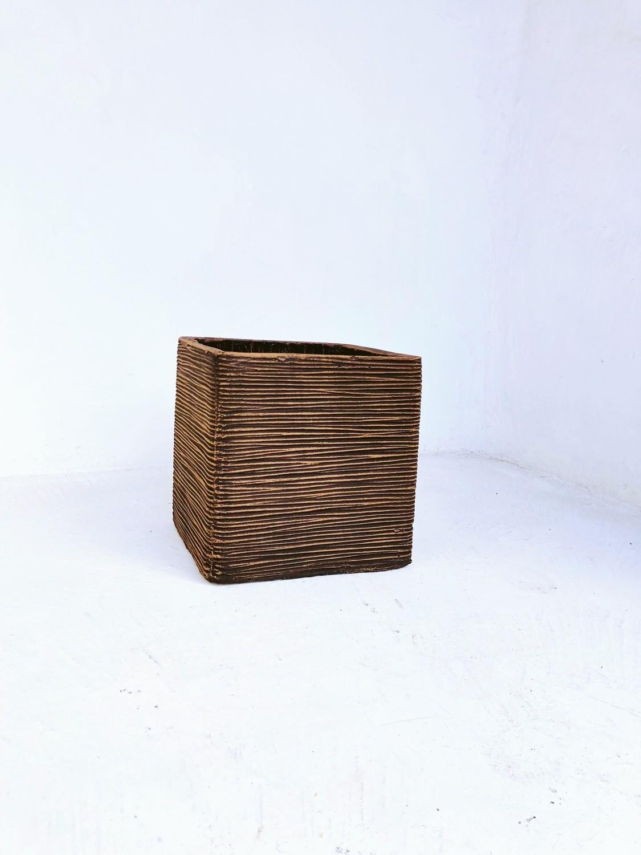 Braided Square Planter Medium Mecca Brown Finish - H300mm x W300mm - 10kg