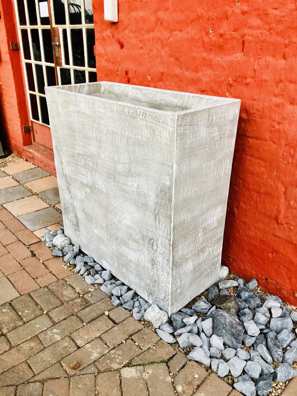 Ondela Rectangular XL Pot Whitewash Finish -  L1000mm x H1000mm x W405mm - 123kg