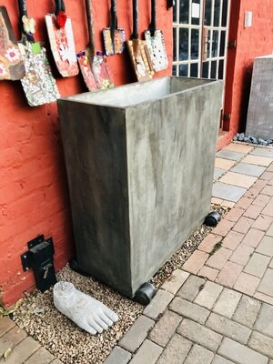 Ondela Rectangular XL Pot Weathered Grey Finish -  L1000mm x H1000mm x W405mm - 123kg
